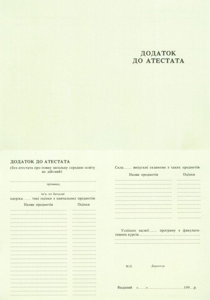 -Приложение к аттестату школы на бланке 1993-1999 г.г.
